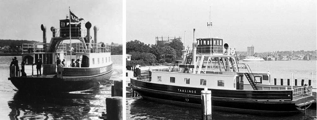 Den gamle Tåsinge færge. Nu husbåd i København. Filmfærgen