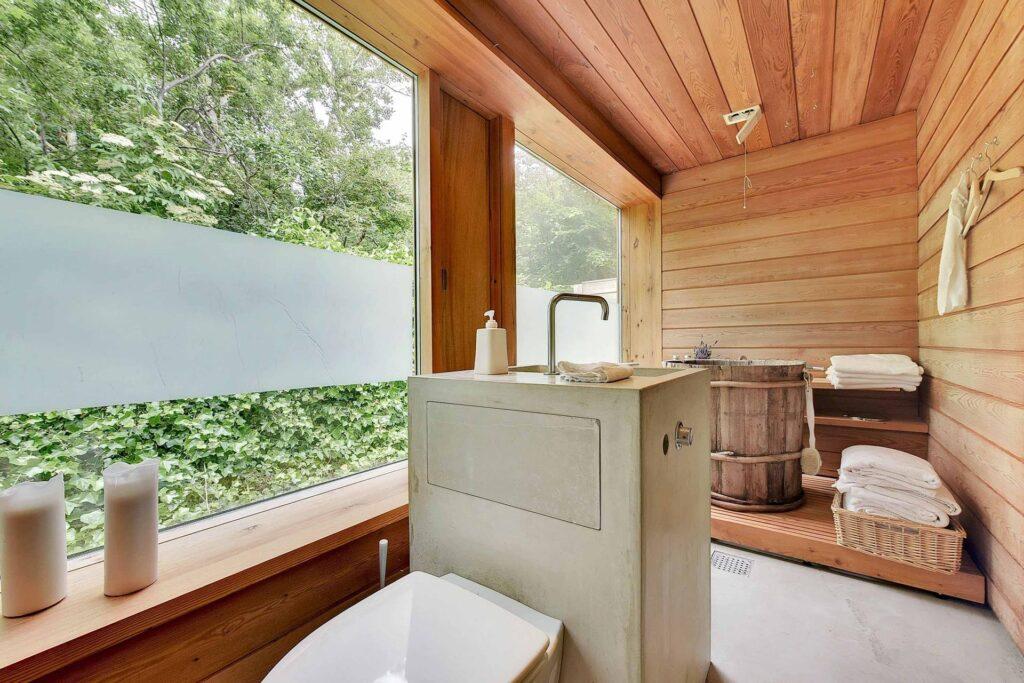 rustikt badeværelse, betonvask, arkitekttegnet, Schmidt, Hammer & Lassen Architects