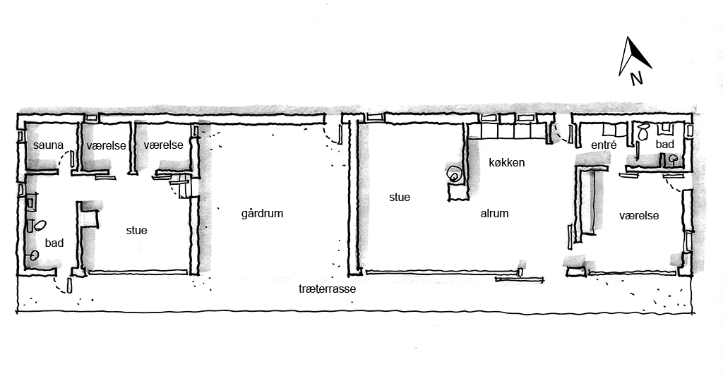 planskitse, arkitekttegnet plan