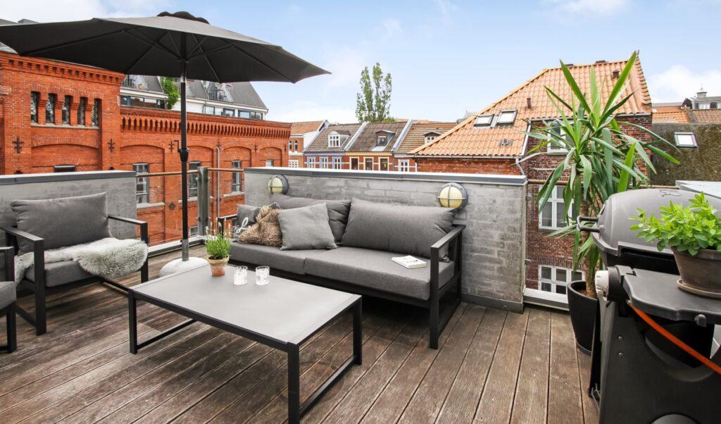 Urbant byhus, tagterrasse i byen, tagterrasse Aarhus