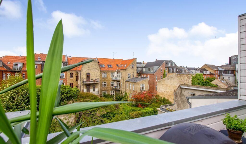 udsigt fra tagterrasse i Aarhus