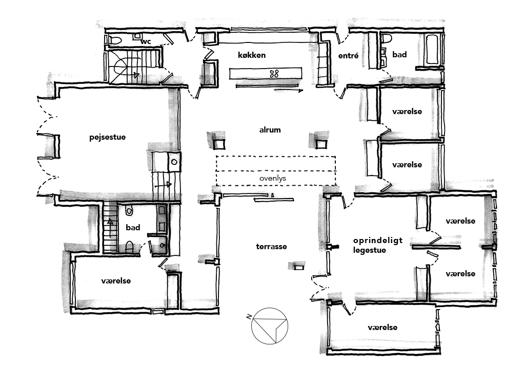 Arkitekttegnet planskitse, Bornebusch villa Hoff