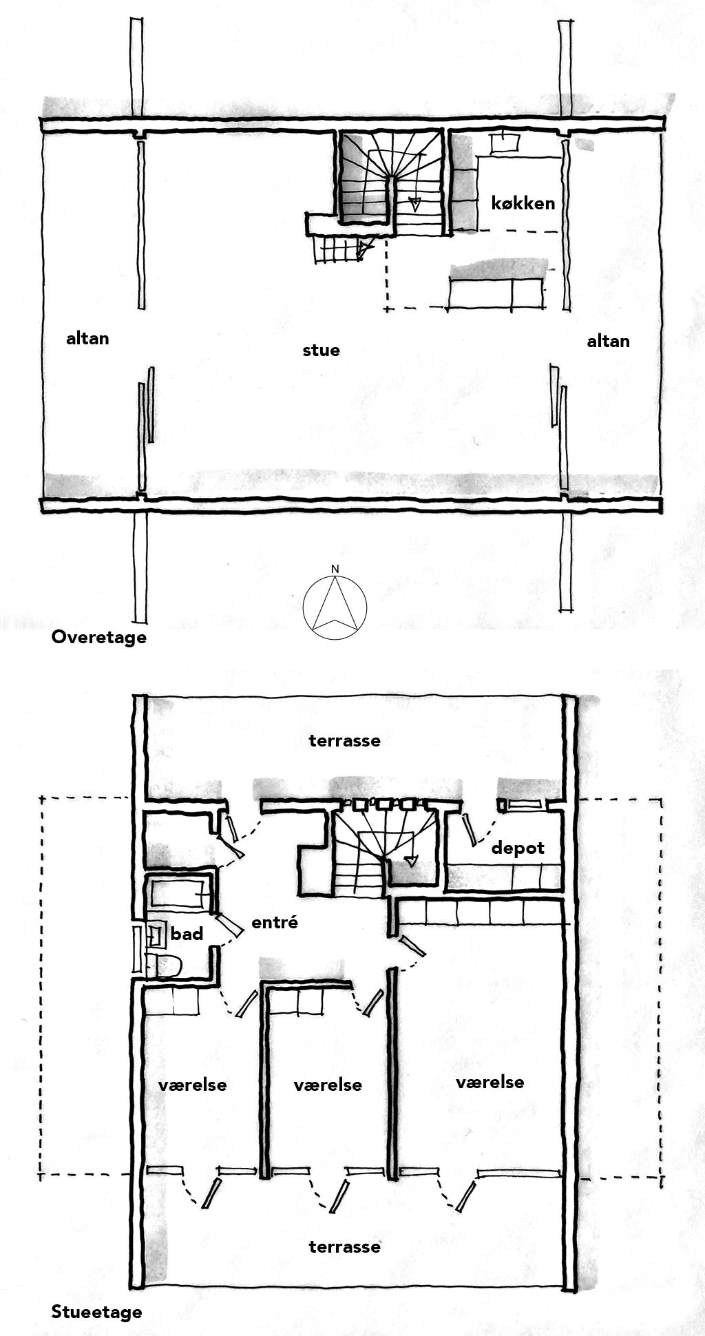 Planskitse, arkitekttegning, håndskitse