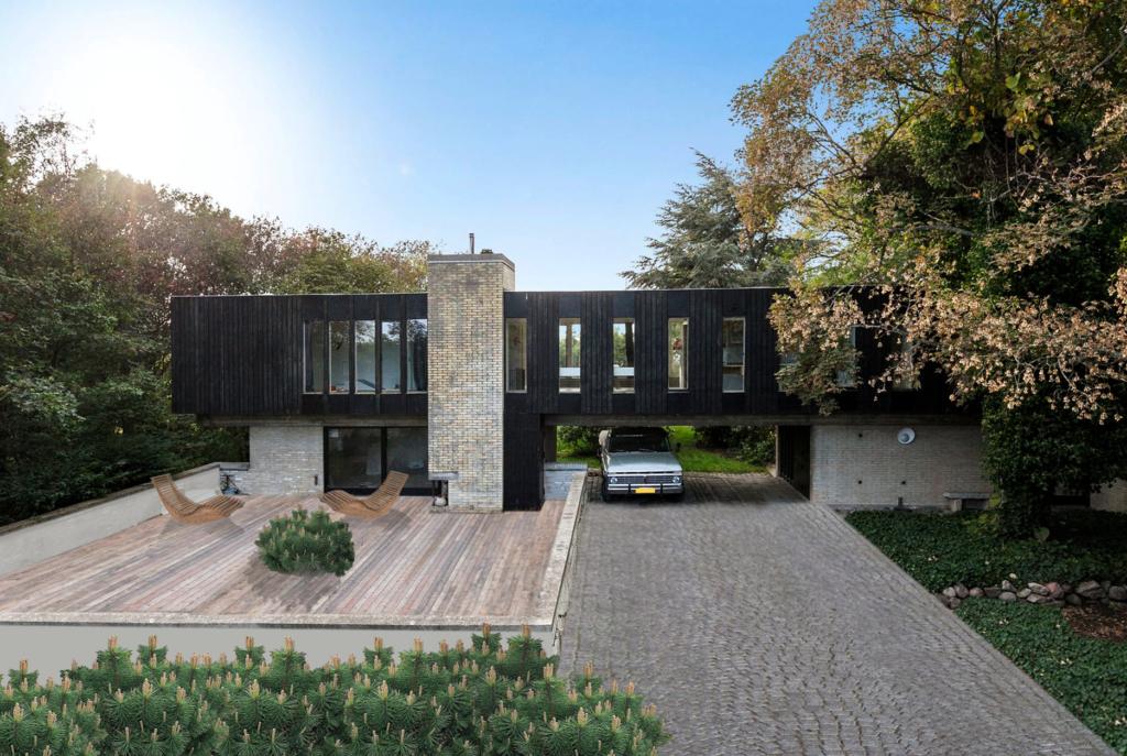 Photoshop makeover af arkitekttegnet hus, Modernistisk villa fra 1960'erne