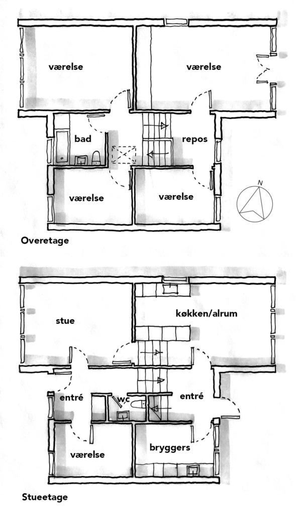 Planskitse af rækkehus i Sjølundsparken i Hellebæk, arkitekttegning
