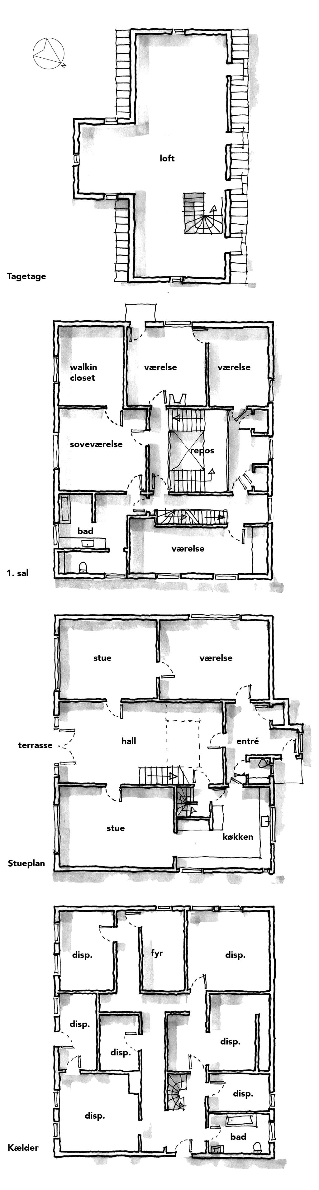 Planskitse, arkitektskitse, arkitekttegning, Ulrik Plesner villa