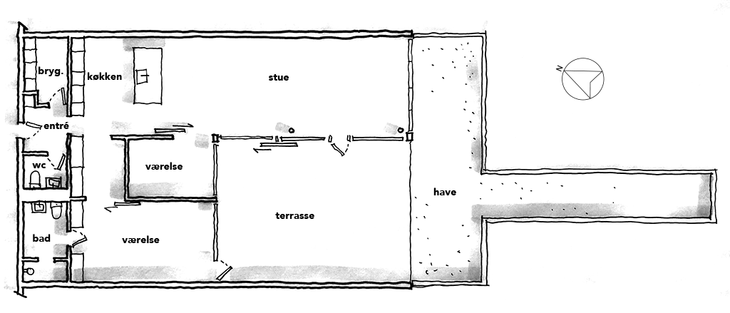 Arkitekttegning, arkitektskitse, håndtegning, planskitse
