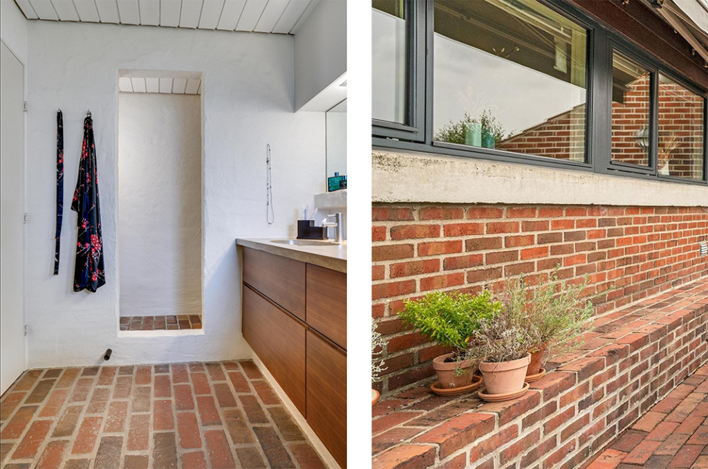 Teglsten i interiør, badeværelse med gulvtegl. Teglbænk på terrasse, arkitekttegnet