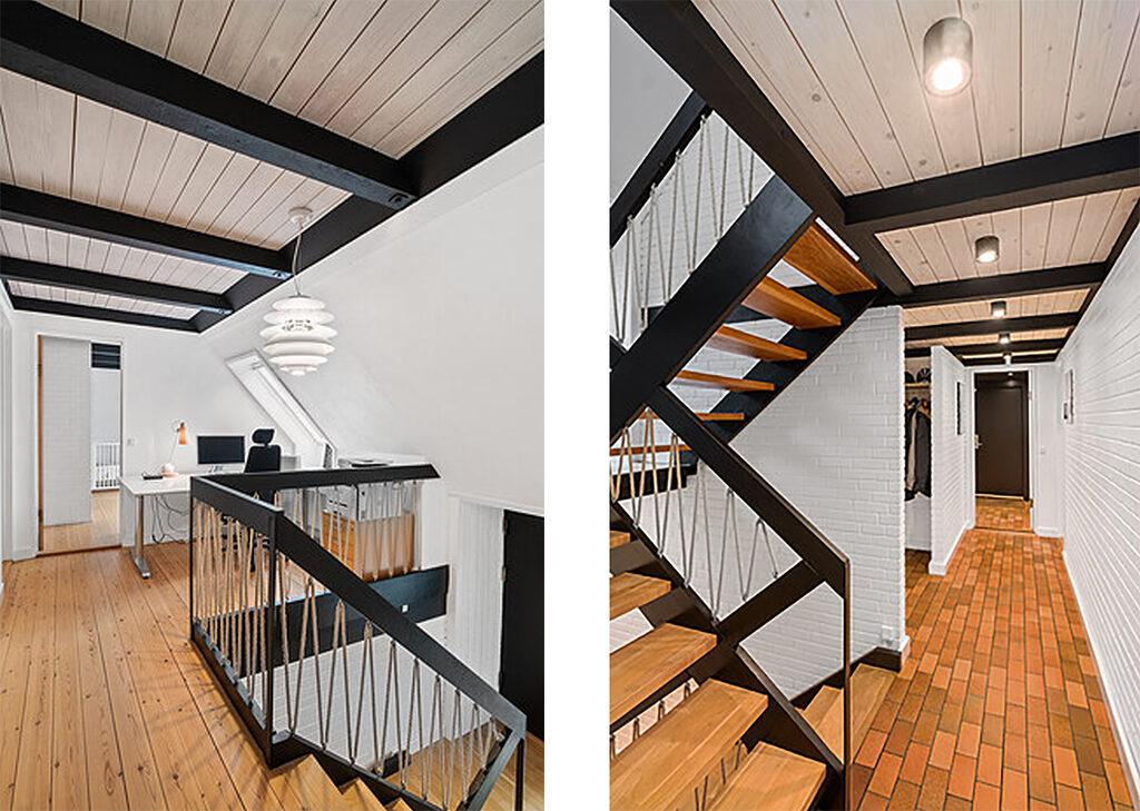Sortmalede trækonstruktioner. Arkitekttegnet hus i Gadevang ved Gribskov, Hillerød
