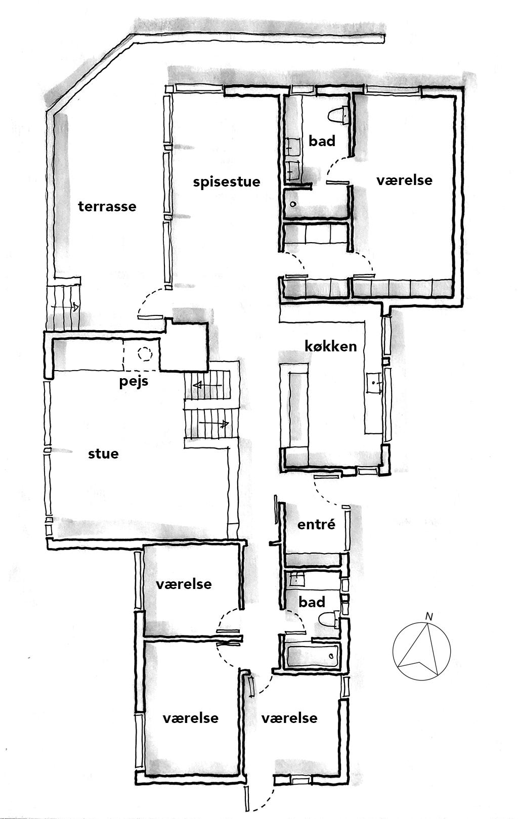 Planskitse, håndskitse, arkitekttegning