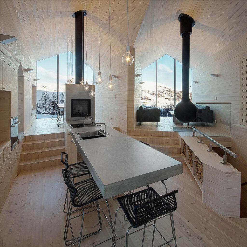 Split stue og køkken, Reiulf Ramstad, Arkitekttegnet fritidshus