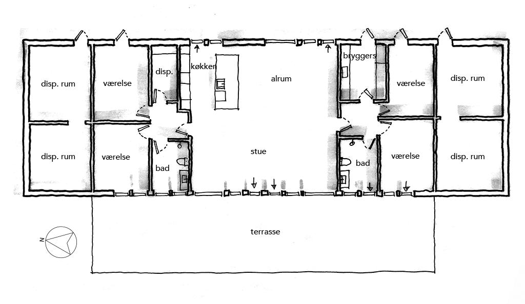 Planskitse, arkitekttegnet hus, BIG