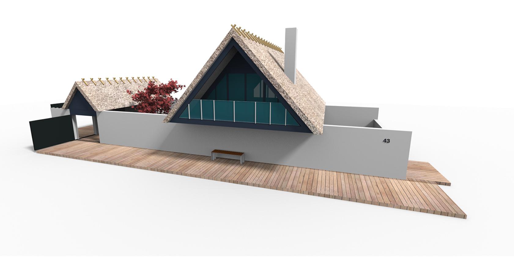 Visualisering af fritidshus, arkitekttegnet
