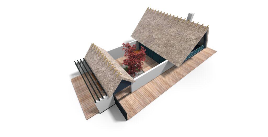 Visualisering af fritidshus, arkitekttegnet fritidshus
