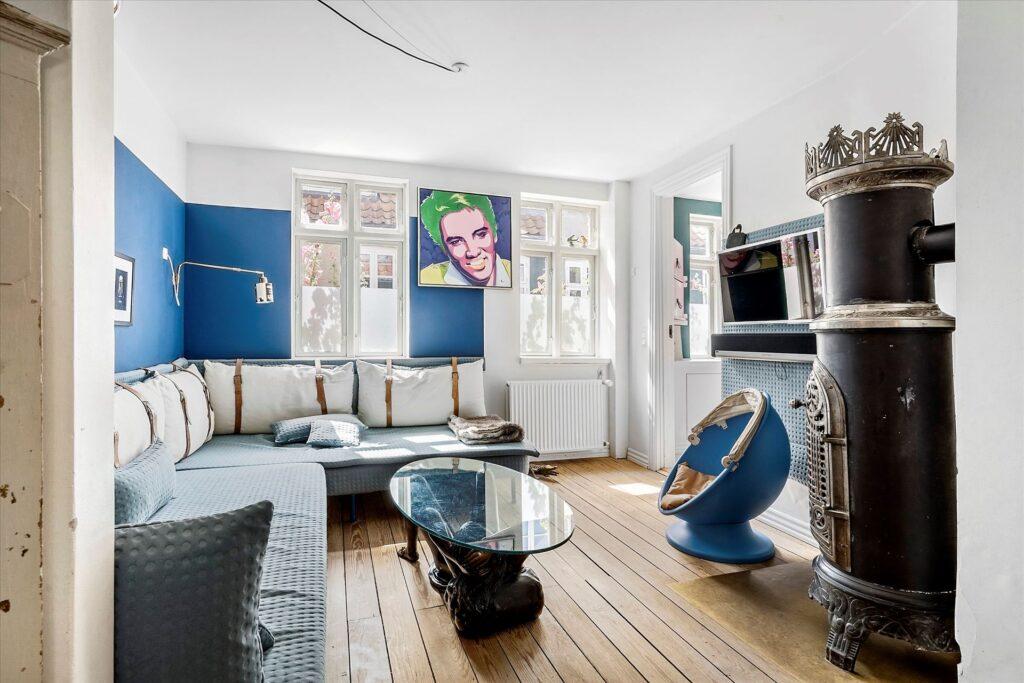Møllestien Aarhus. Moderne stue i gammelt hus