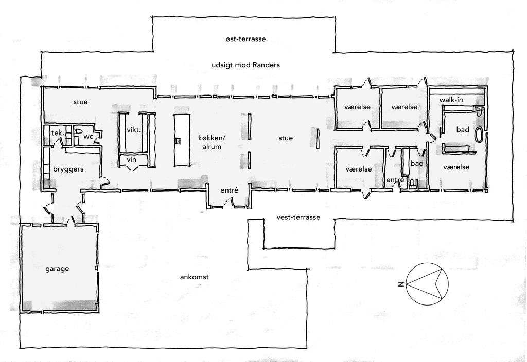 Håndtegnet planskitse, arkitekttegning
