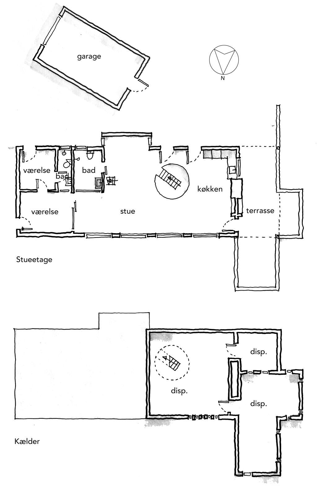 Planskitse, arkitekttegning, arkitekttegnet plan, Tage Lyneborg Tisvilde