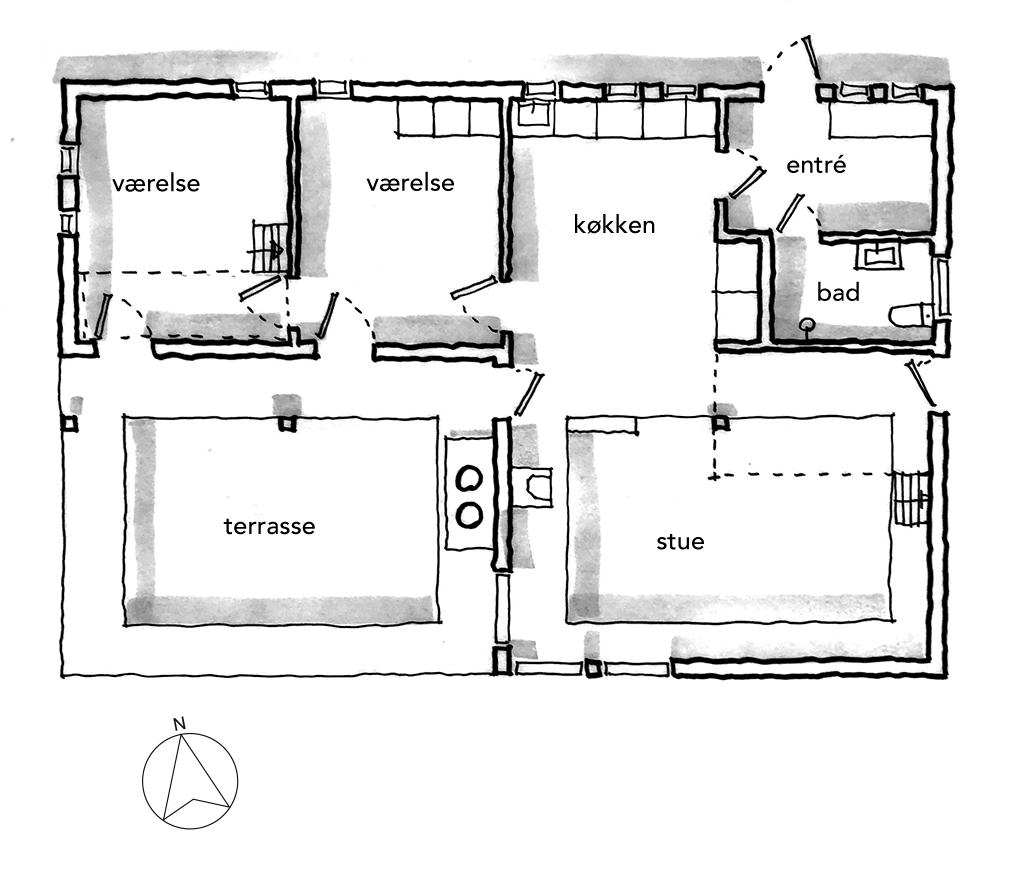Arkitekttegnet plan, håndskitse