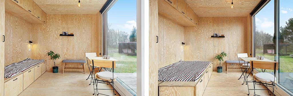 Lækkert interiør i Tiny House, finérplader på vægge og loft. Fold ud seng.