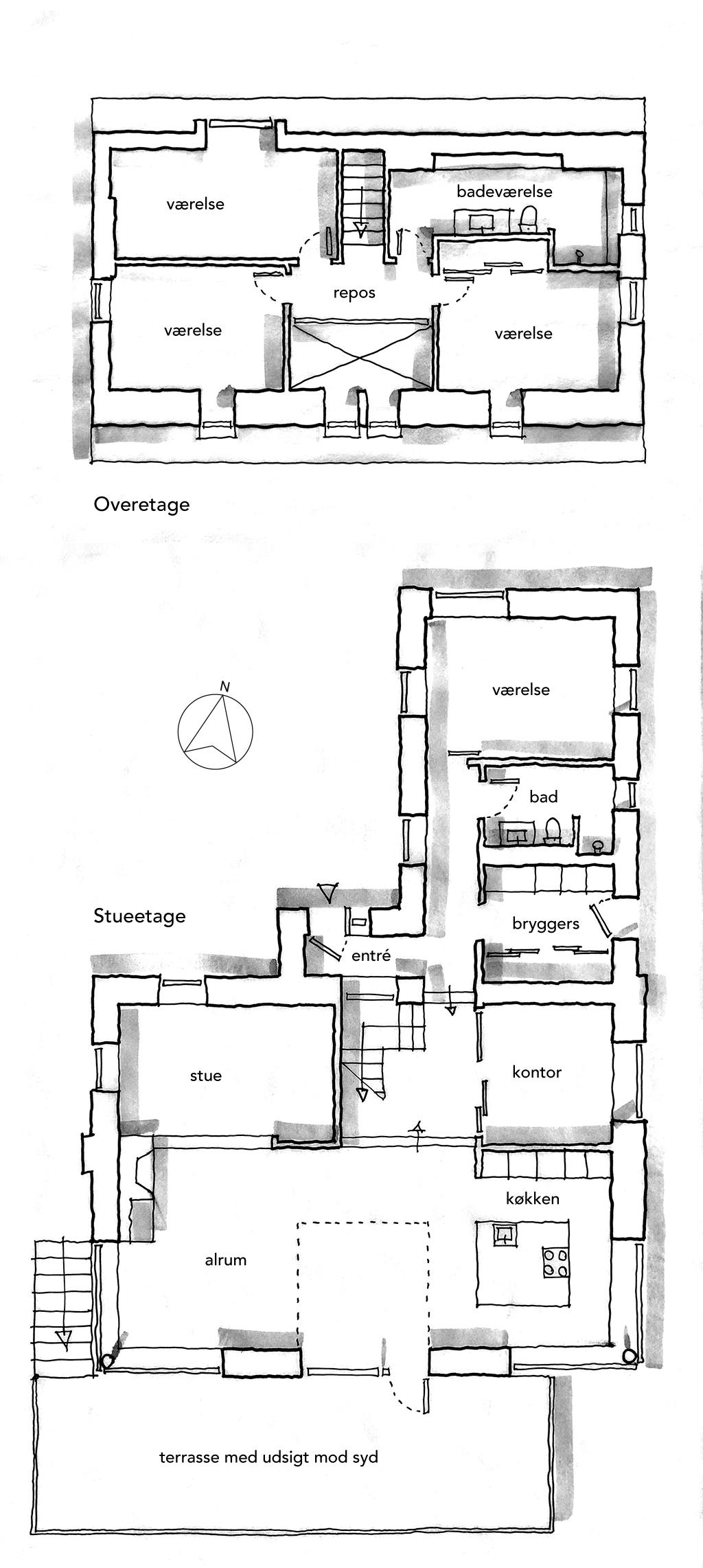 Arkitekttegnet plan, skitse, håndtegnet plan