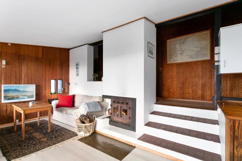 Stue i arkitekttegnet sommerhus fra 1969, sommerhus fra 1960'erne