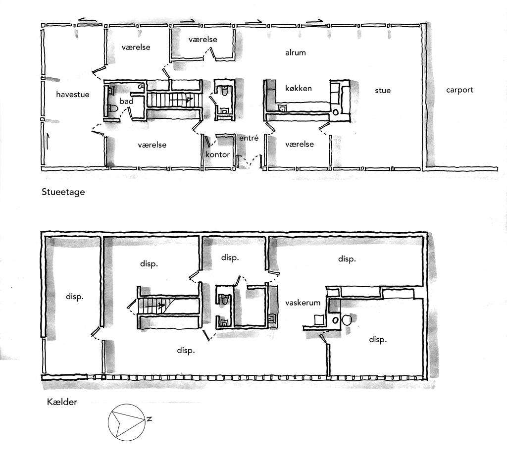Planskitse, arkitekttegnet plan, Håndtegnet plantegning