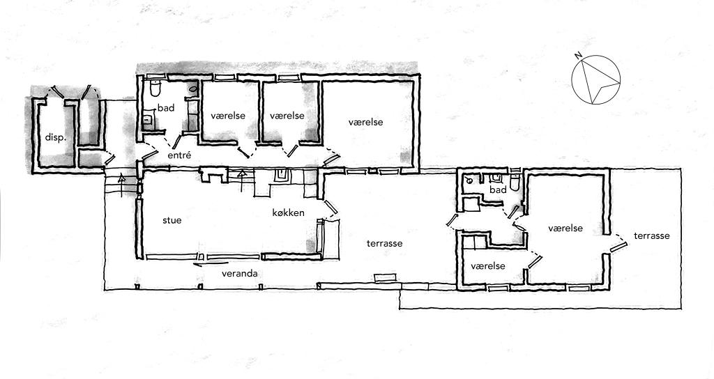 Arkitekttegnet plan, skitsetegning, 60'er sommerhus