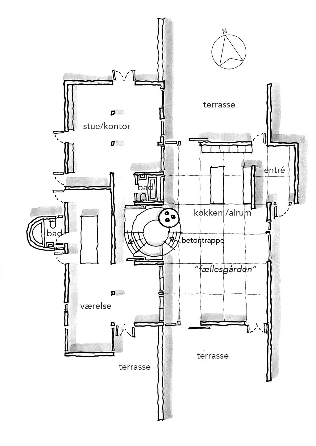 Planskitse, arkitekttegning, Arkitekt Svend Wichmann villa plan