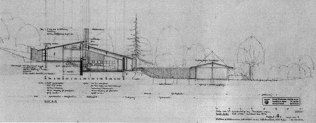Snittegning arkitekt Svend Wichmanns eget hus