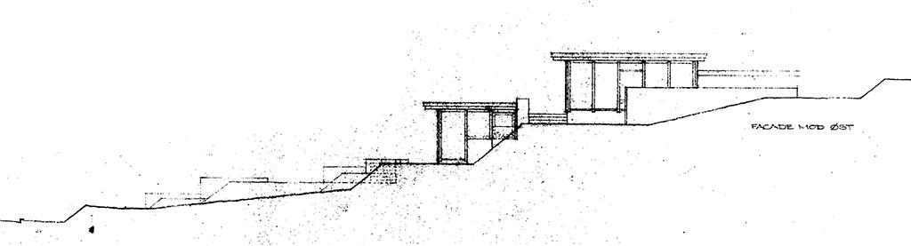 Arkitekttegning af facade, 60'er arkitektur. Jørgen B. Rasmussen, arkitekt