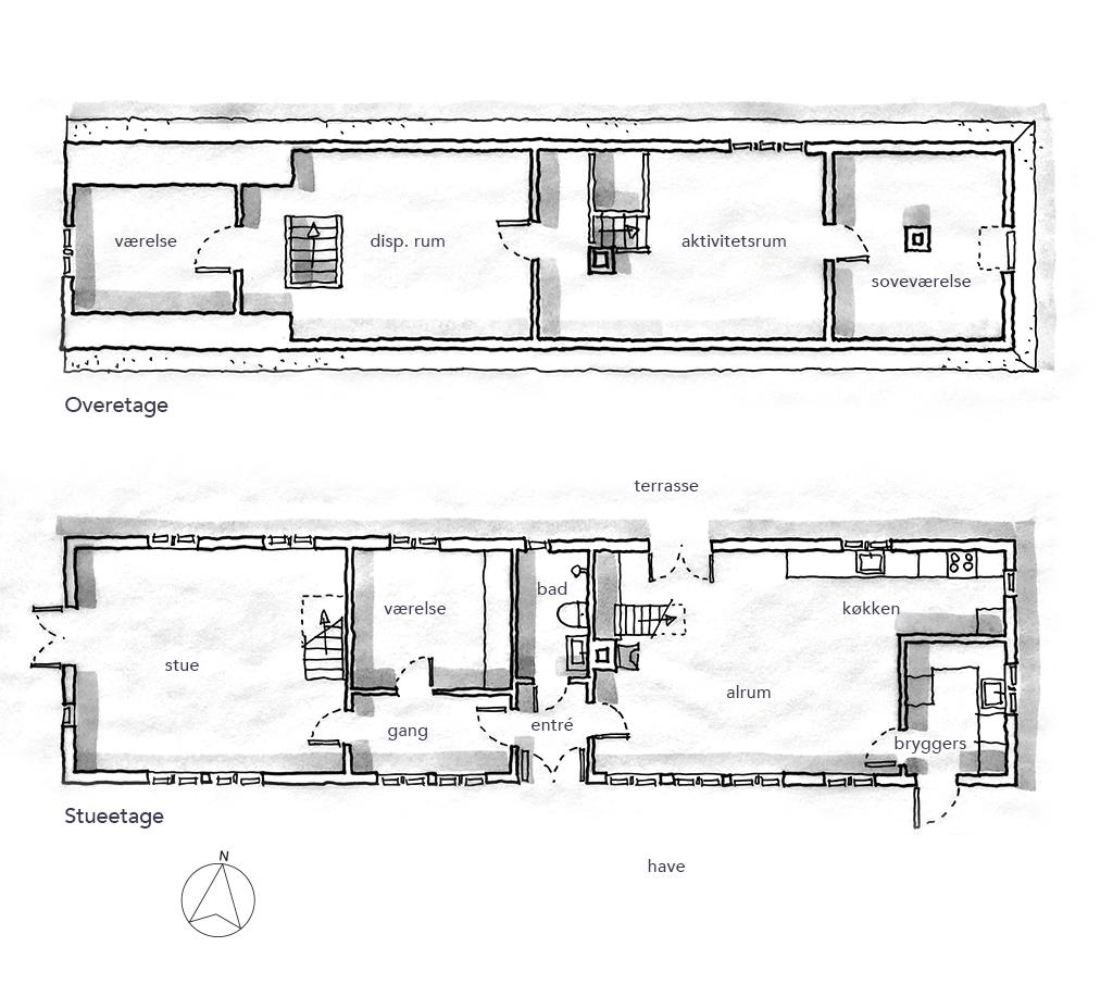arkitekttegning, planskitse, håndtegnet plan,