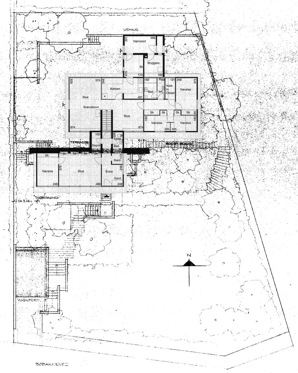 Plantegning - arkitekttegnet 60'er villa.