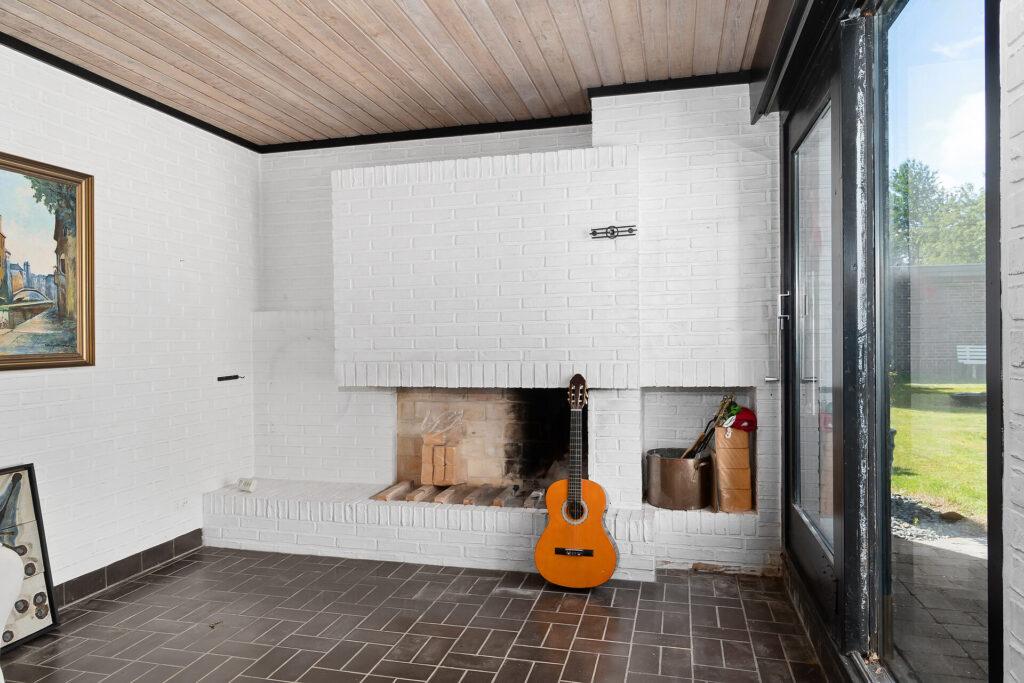Modernistisk villa pejsestue, 70'er arkitektur, arkitekttegnet