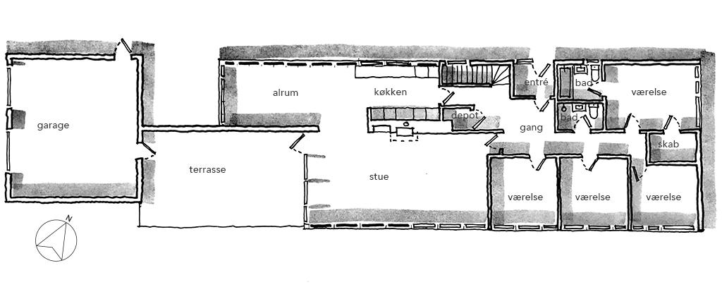 Plantegning, håndskitse, arkitekttegning, planskitse 60'er hus