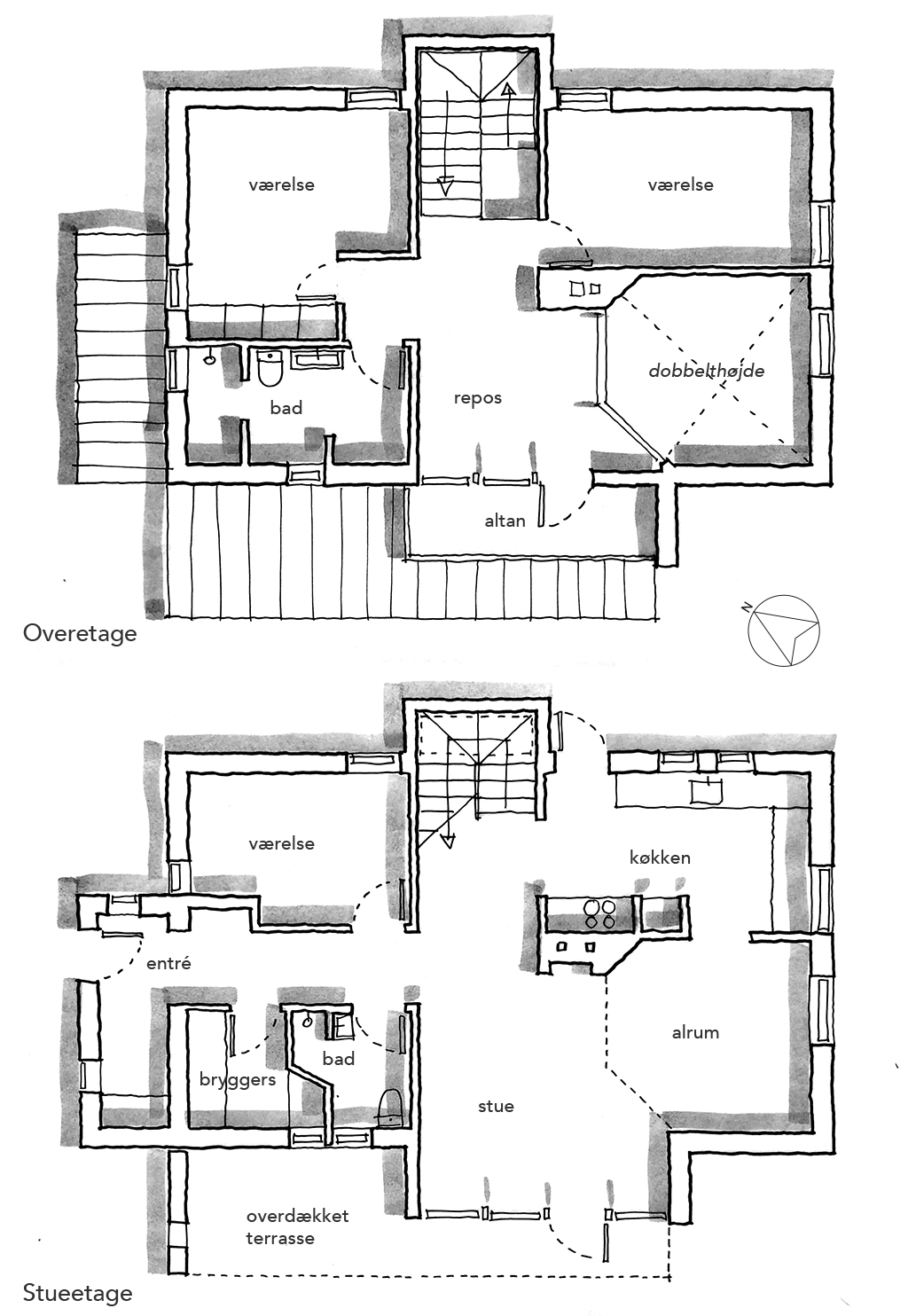 Arkitekttegning, planskitse, plantegning, håndtegning