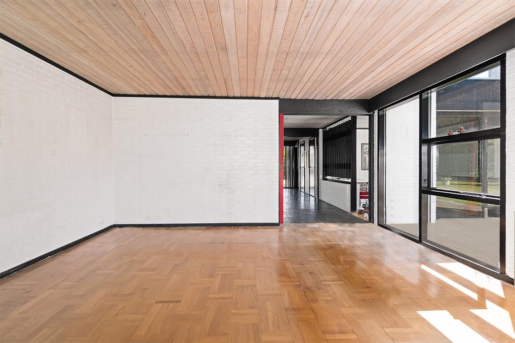 Modernistisk villa stue, 70'er arkitektur, arkitekttegnet