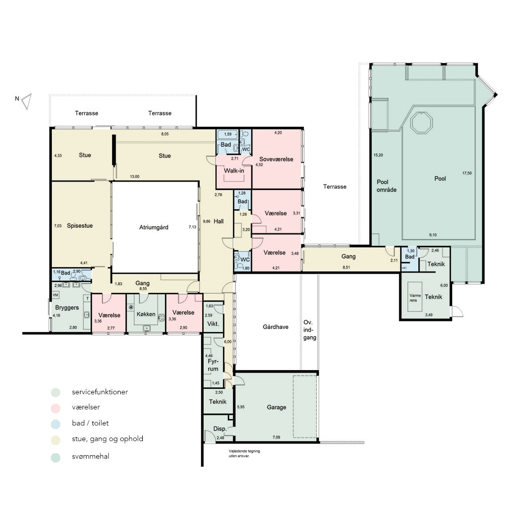 Plantegning af arkitekttegnet 60'er hus. Plandiagram med farvekode