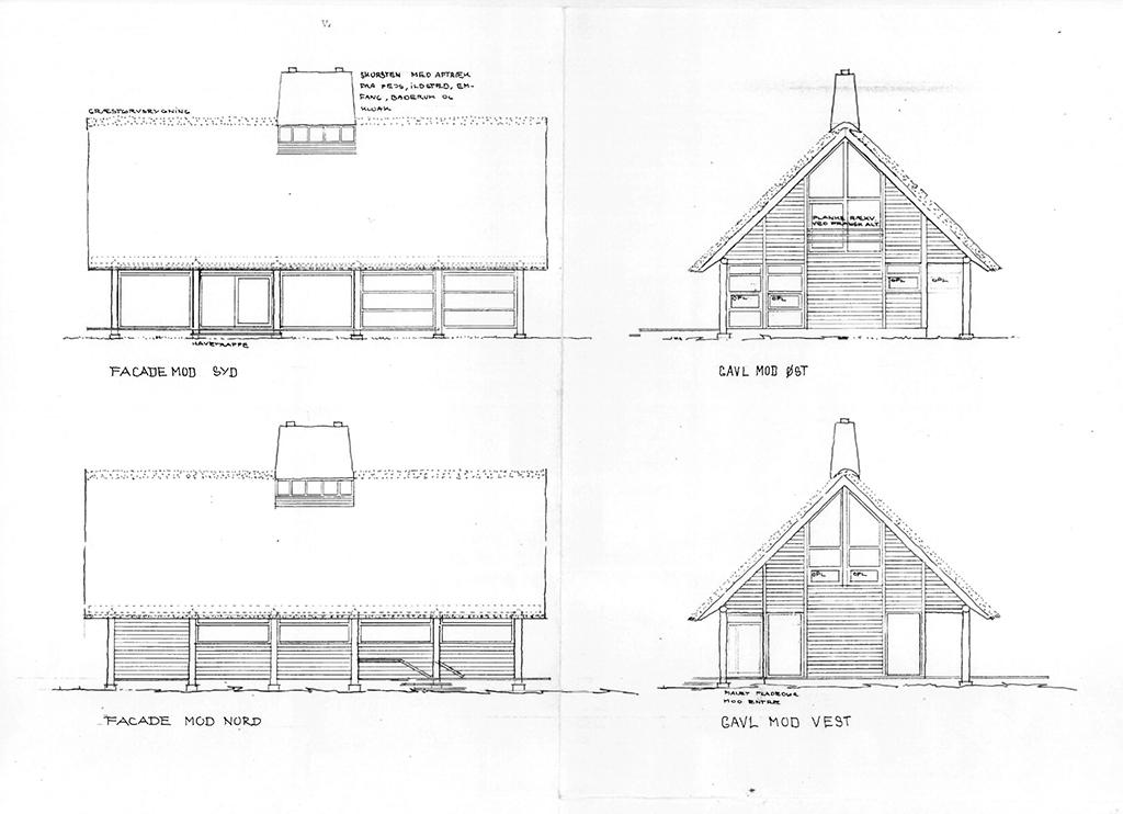 Facadetegninger af landhus i Dronninggård Skov, arkitekt Hans Dall, Dall og Lindhardtsen