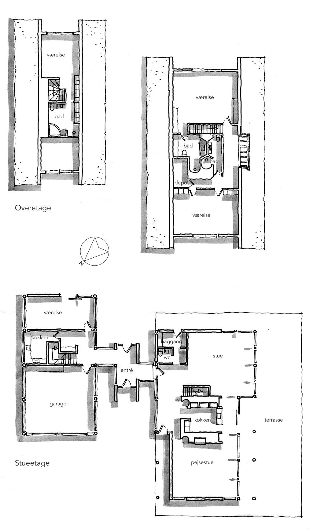 Planskitse, arkitekttegning, Landhus i Dronninggård Skov