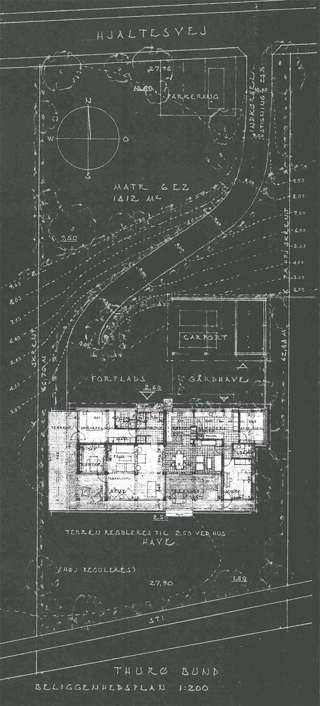 Situationsplan Carla og Axel Jürgensen, arkitekter. Arkitekttegnet 80'er hus ved Svendborg