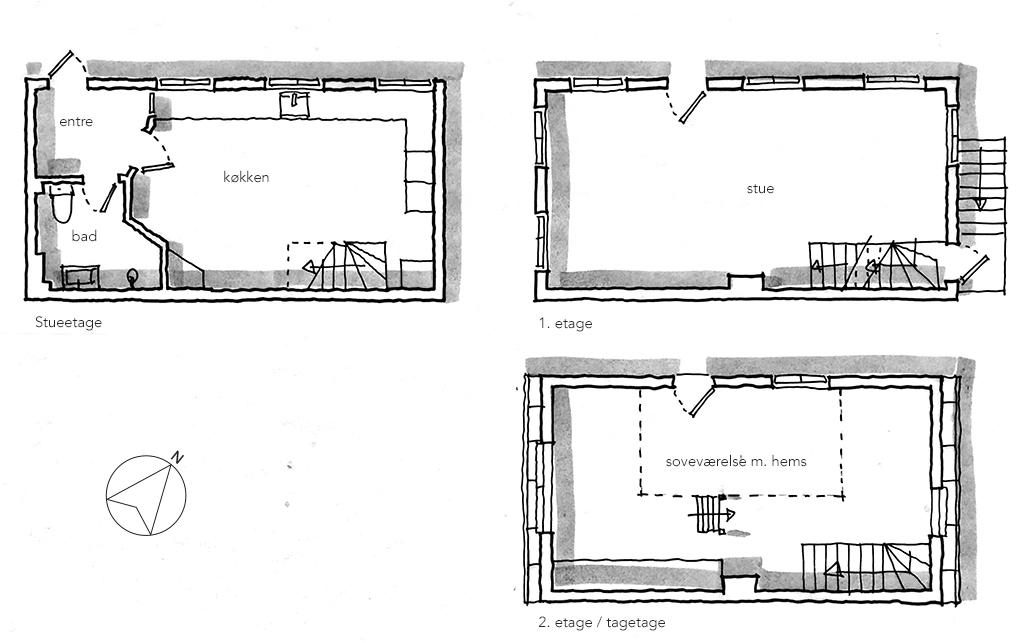 Planskitse, arkitekttegning, håndtegnet plan