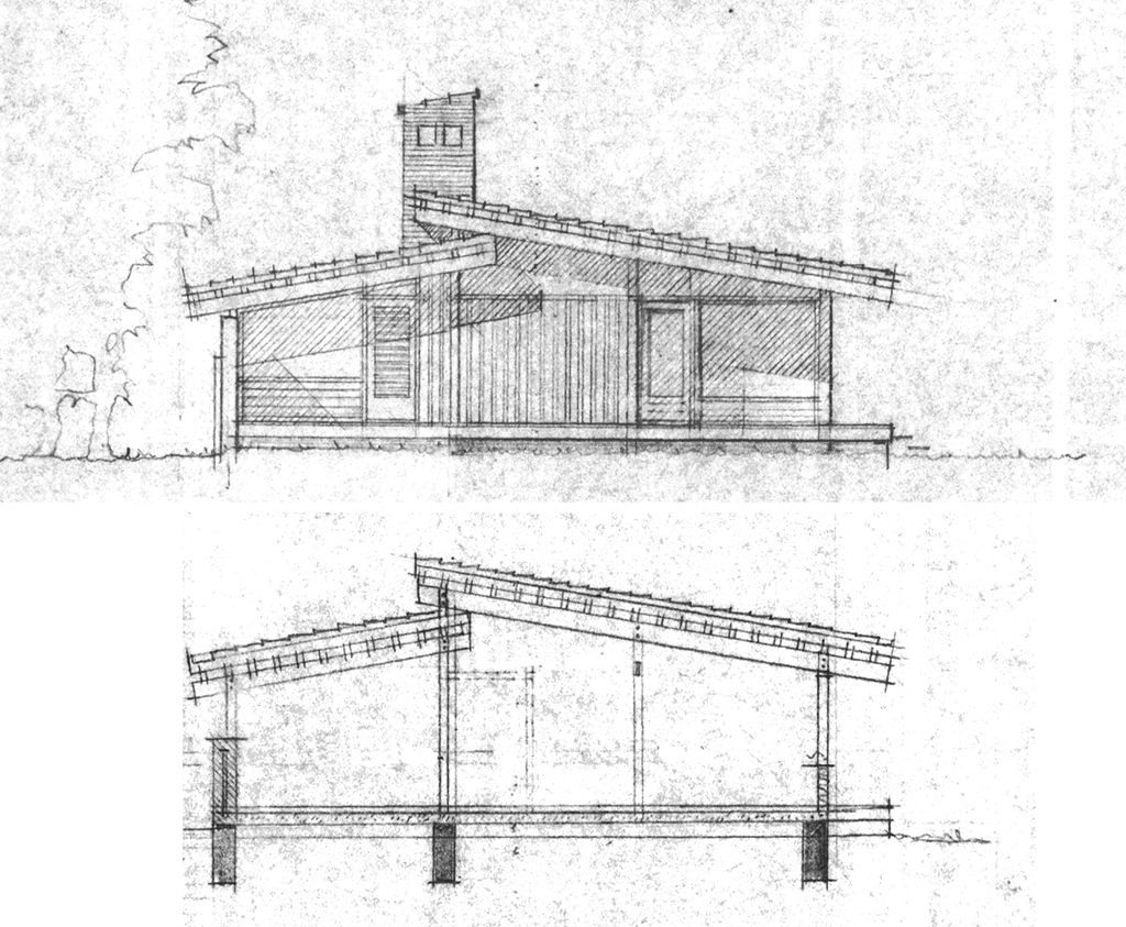 Facade og snittegning, arkitekttegnet hus, 80'er hus, Carla og Axel Jürgensen, arkitekttegnet villa.