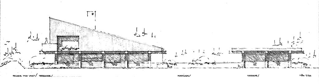 Arkitekttegning facader, 70er hus håndtegning