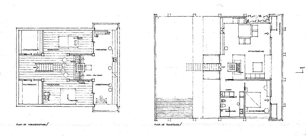 Arkitekttegning, plantegning, 70'er hus