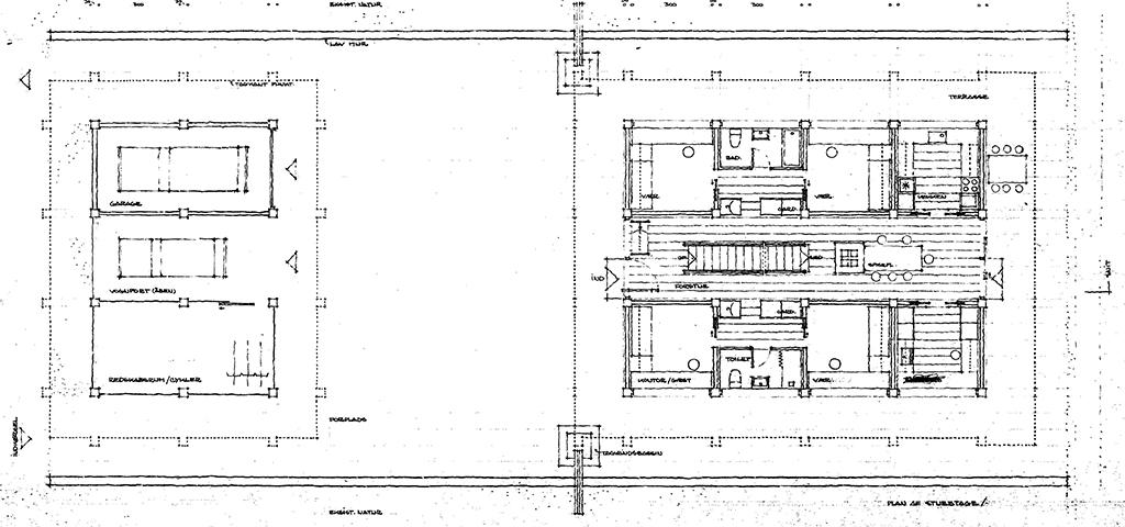 Arkitekttegning, plantegning, 70er hus