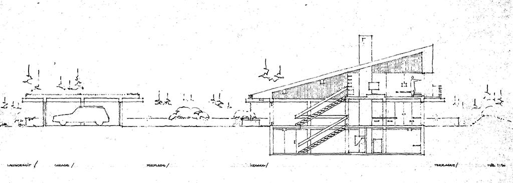 Arkitekttegning, arkitekttegnet 70er hus, snittegning af 70'er hus