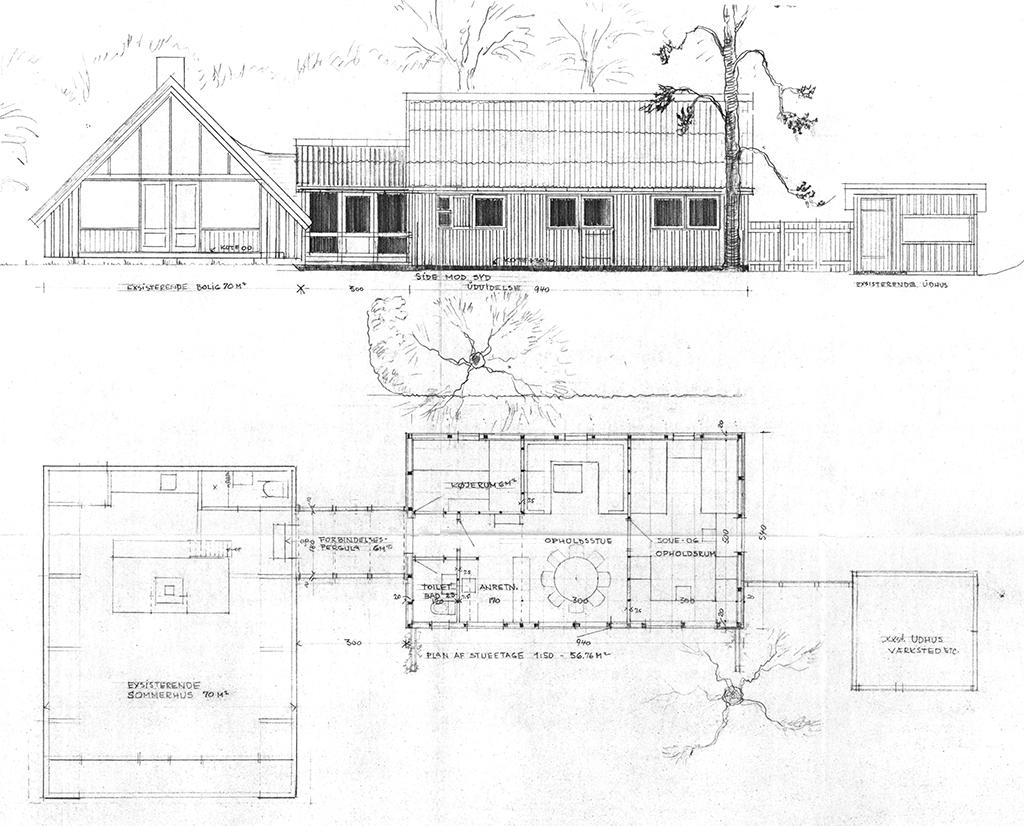 Arkitekttegnet fritidshus, arkitekttegnet 60'ersommerhus, Arkitekttegninger, Kaj Schmidt