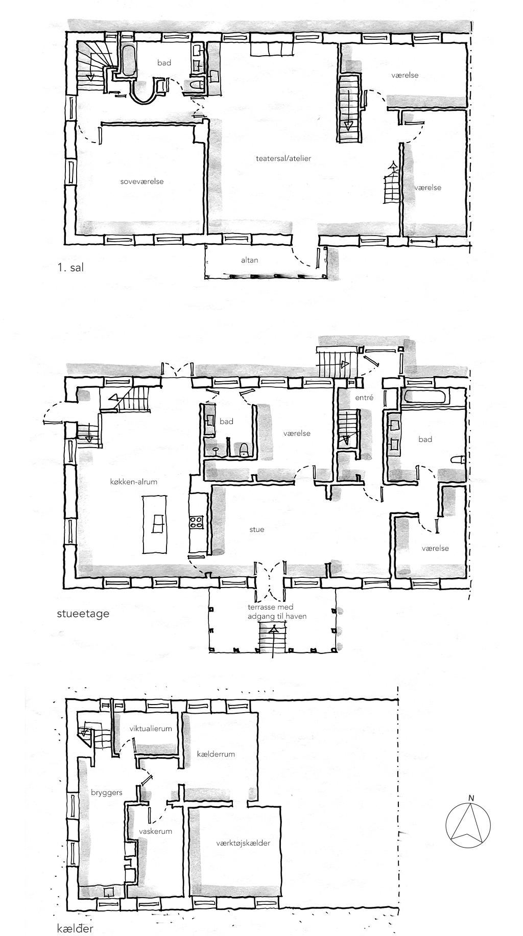 Plantegning, håndskitse, arkitekttegning